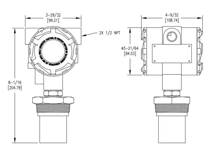 Drawings of ultrasonic level transmitter