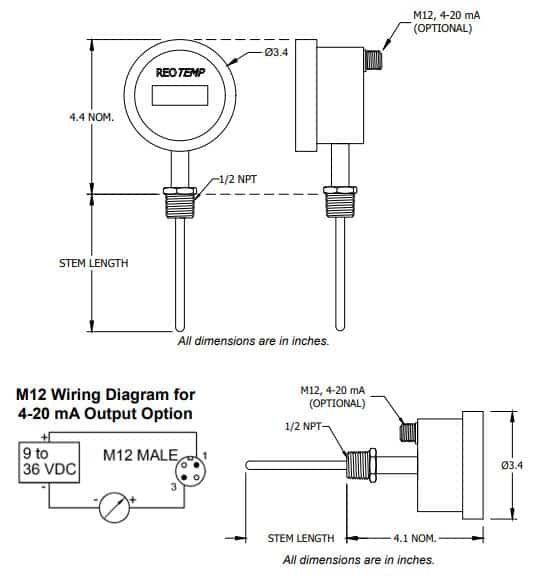 Drawings of SI-DTM Digital Thermometer-Transmitter