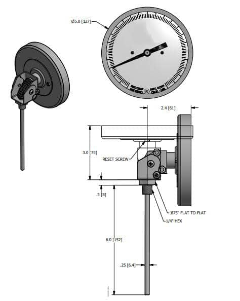 Drawings of SI-WSS Adjustable Angle Bimetal Thermometer