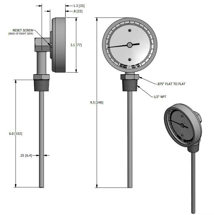 BOTTOM CONNECT BIMETAL THERMOMETER DRAWINGS