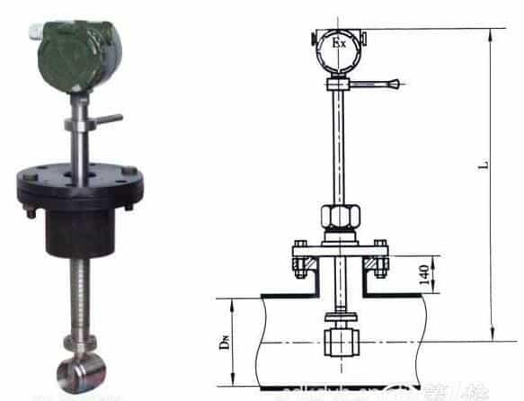Insertion Vortex Flow Meters drawing