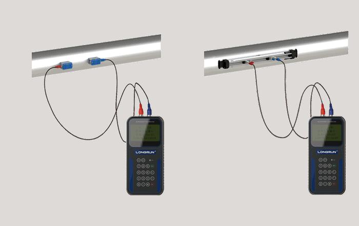 SI-2000H handheld ultrasonic flow meter install