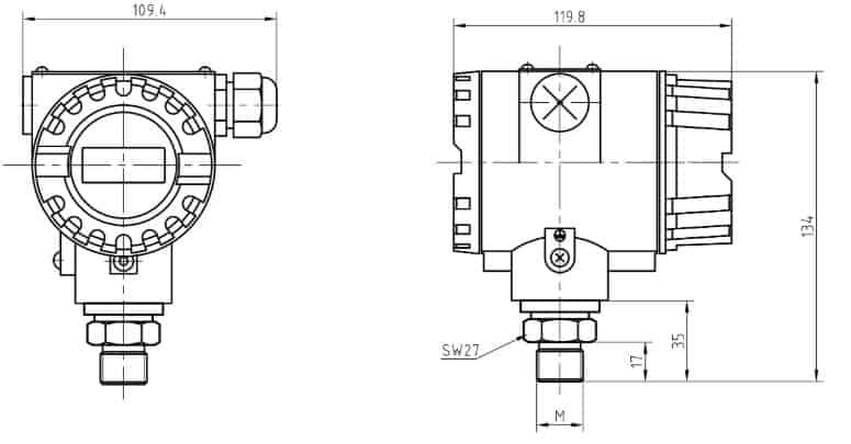 explosion-proof pressure transmitter drawing