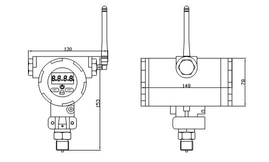 Drawings of SI2088-W Wireless Pressure Transmitter