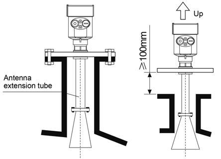 Install short long antenna extension tube