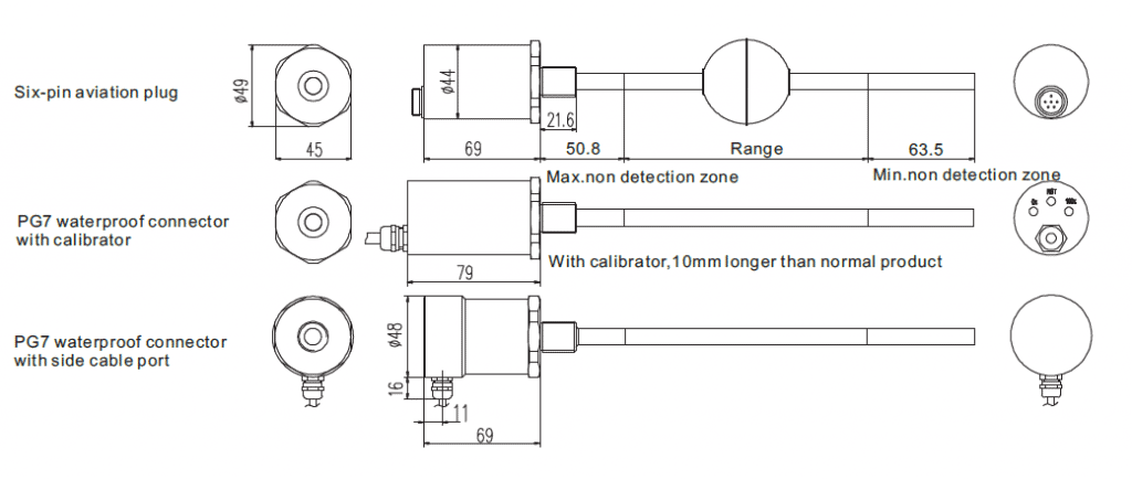 The dimension of SI-2116 Magnetostrictive level sensor