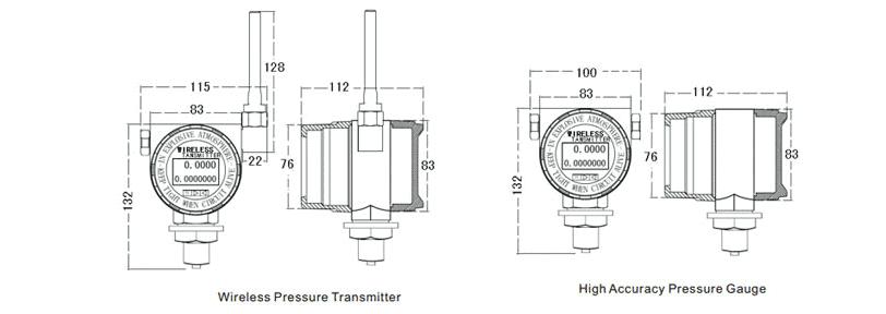 Dimension of wireless pressure transducer