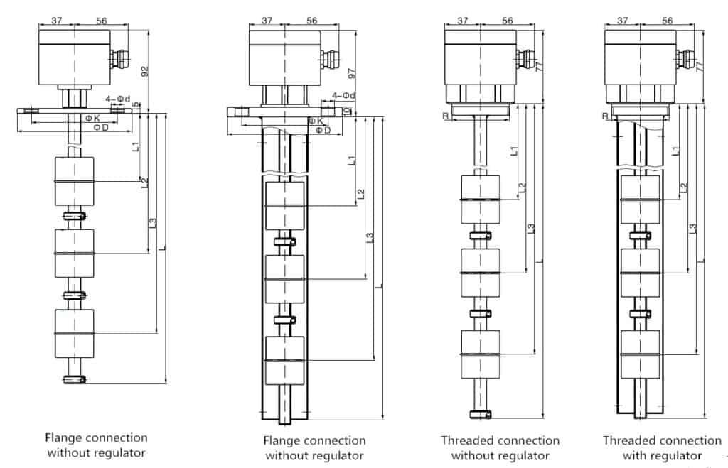 SI-U02 Multi-Point Liquid Level Float Switch Dimension