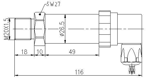 SI-520 Digital Pressure Sensor Dimensions