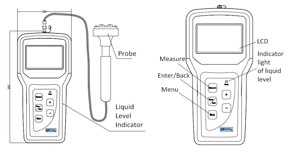 probe-Structure-of-Portable-Ultrasonic-Liquid-Level-Indicator