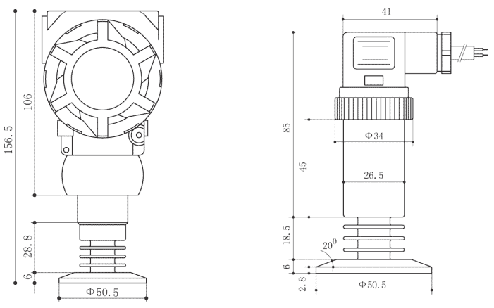 Drawing of SI-350 Sanitary Pressure Transmitter