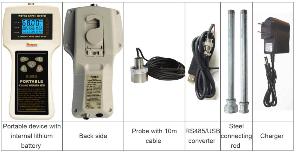 HS-SFCC Portable Ultrasonic Water Depth Gauge package